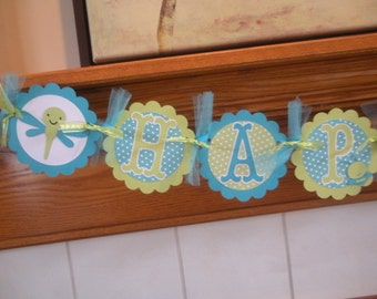 Boy Bugs and Insect Birthday Banner, Insects Birthday Banner, Green and Turquoise Banner, Matching Tissue Pom Poms Available