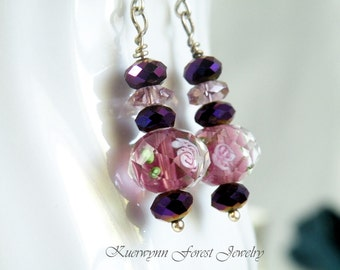 Purple Earrings, Dangle Earrings, Crystal Earrings, Flower Earrings, Drop Earrings, Rose Earrings, Pink Earrings, Gift for her