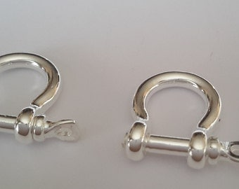 2 Solid Sterling Silver Mini 925 Shackle bracelet clasp key chain beads