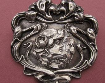 Summer Sale Art Nouveau Sterling Silver Brooch Unger Brothers Lady With Flowers Antique Pin Jewelry