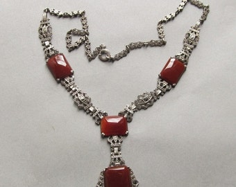 Summer Sale Antique Sterling Silver Carnelian Marcasite Necklace Art Deco Jewelry