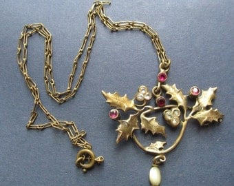 On Sale Art Nouveau Holly Berry Necklace Antique Jewelry Circa 1910