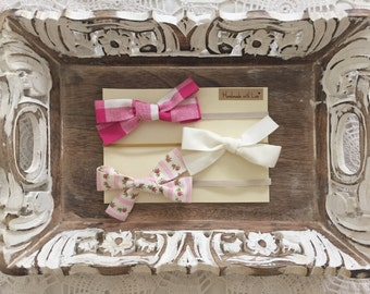 Pink Baby Bows - set of three - Rosebud Bow, Pink Gingham