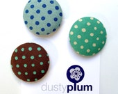 Spotty Magnet Set - Covered Button Magnets Super Large 38mm x 3 Quality Quilting Fabric Blue Green Brown