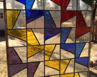 Contemporary Stained Glass Panel - Colorful Geometric Ribbons (PLG004)