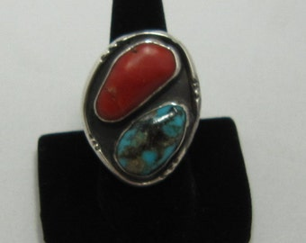 Large Silver Turquoise Coral Mens Ring Size 10