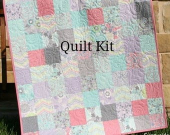 Baby Girl Quilt Kit, True Luck Stephanie Ryan for Moda Fabrics, Flowers in Grey Gray Blue Pink, Beginner Simple Patchwork DIY Shabby Chic