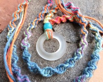 Eco Friendly Recycled, Kiln Fired,Circle of Life, Sand Tumbled Clear Glass Bottle Top Rainbow Hemp Macrame