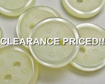 """CLEARANCE! A Field of Flowers: 1/2"""" (13mm) Cream Buttons with Tiny Impressed Flowers - Set of 7 Matching New / Unused Buttons"""