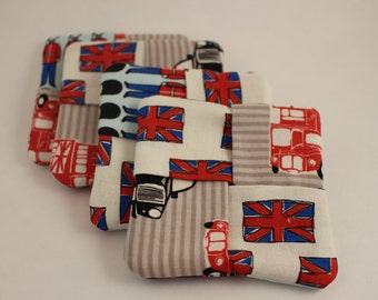 England Love fabric drink coasters Set of 4