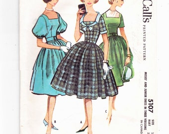 "McCalls 5107 vintage Four Gore Skirt Dress With Square Neckline Misses Rockabilly 1950s Sewing Pattern Size 16 Bust 36"" Waist 28"""
