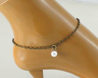 Anklet, bronze ankle bracelet, pearl charm, OOAK gift for her