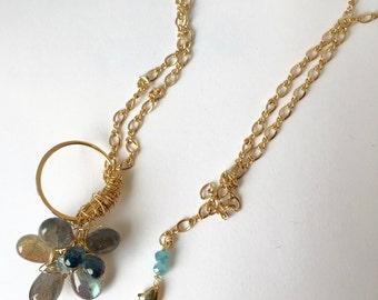 Labradorite Flower, London Blue Topax/SkyBlue Topaz, Gold Fill Necklace, Lilyb444