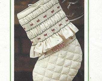 1980s Sunset Stitchery Kit 188 Smocked Christmas Stocking for Baby Kit Designed by Linda Gillum and UnOpened Vintage Christmas Stocking Kits