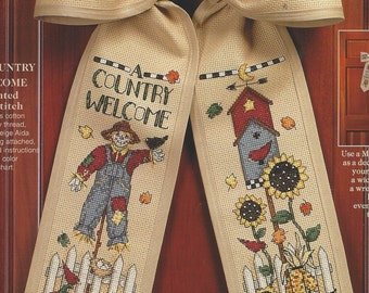 90s Debbie Mumm Bows A Country Welcome in Counted Cross Stitch Kit 72362 Cross Stitched Front Door Bow Kit Birthday Gift for Her