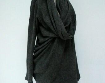 MARIA SEVERYNA Soft Wool Knit Asymmetric Sweater Wrap Duster in Charcoal Wool Jersey in Black