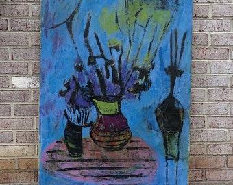 Mid Century Modern Expressionist Still Life Oil Painting by Jean S. Margolin - AMAZING!!