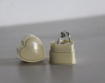 Antique Ring Box Bakelite Heart Shaped Engagement, Wedding Ring Box