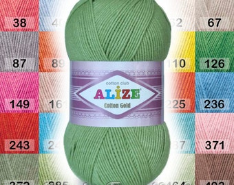 Alize Cotton Gold yarn. Cotton Baby Yarn. 4ply yarn, hand knitting yarn crochet yarn. Colour of your choice. DSH