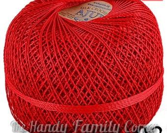 "Red color (03) viscose silk yarn, knitting lace, crochet thread, tatting thread, Vegan silk, Needlepoint lace thread. ""Ajur"" ball. DSH(P0)"