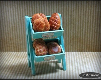 Miniature bread stand, handmade breads, dollhouse bakery shop accessory, 12th scale miniature