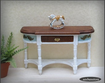 Dollhouse miniature console, sidebaord, 12th scale half table, distressed