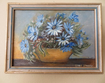 Vintage Oil Painting FLORAL Still Life / Miniature Small / 5 3/4 by 7 3/4 / Signed Ione Spartz
