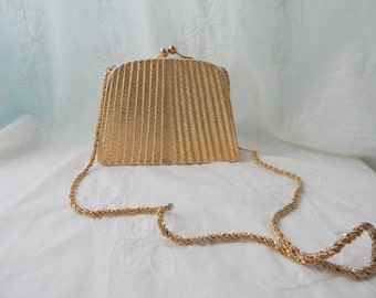 Vintage Gold Tone Metal Purse, Made in Italy for Morle
