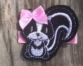 Sweet Skunk Black White Pink Felt Hair Clip Clippie Babies Toddlers Girls