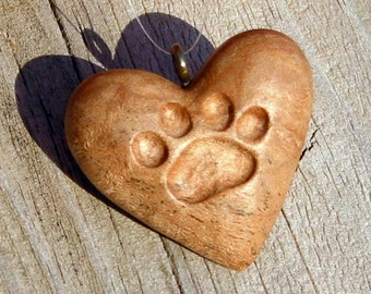 Heart Wood Carving Cat Paw Print Ornament, Pendant Handmade Necklace, Hand Carved Gift For Cat Lover, For Sale, Mini Tiny Wooden Art by Joan