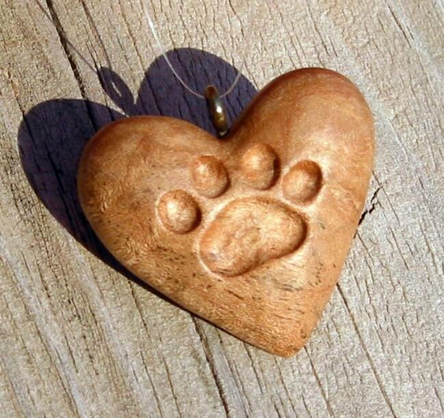 Heart wood carving cat paw print ornament pendant handmade