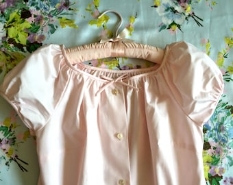 Vintage 50s pink top puffy sleeves blouse S M
