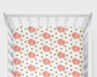 Coral Pink Roses on Gold Polka Dots Crib Sheet - Floral Baby Bedding + Nursery Decor + Toddler Bedding + Changing Pad Covers + Blankets