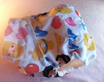 SassyCloth one size pocket diaper with princess emoji cotton print. Ready to ship.