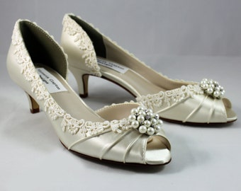 "Ivory lace pearl heels 1.75""-The Pearl- low heel SALE Ready to ship 7.5"