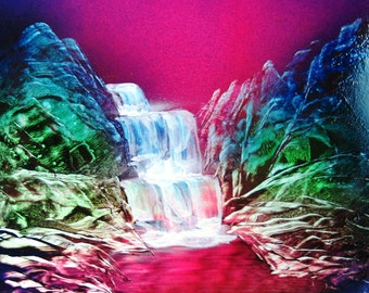 """Spray Paint Art Original Waterfall Forest Landscape Poster Painting 14"""" x 11"""""""