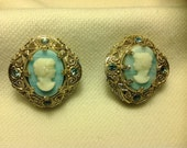 Vintage Baby Blue Cameo clip earrings