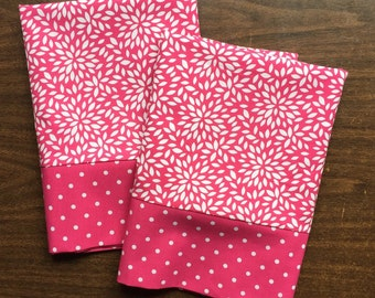 Bright Pink Lotus Blossom Pillow Case  Set Standard/queen Bright Pink and White polka dot cuff