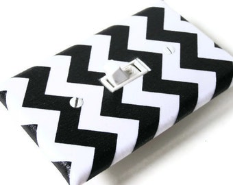 BLACK CHEVRON Light Switch Cover Plate Switchplate Nursery Decor