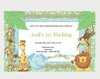 Jungle Birthday Invitation Printable Personalized