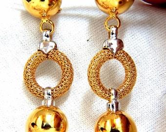 Long Dangle Ball form earrings 14kt mesh circular