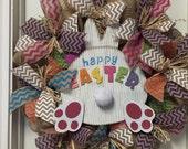 Sale Easter Wreath, Easter Deco Mesh Wreath, Burlap Easter Bunny Booty Wreath, last one