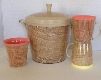 Vintage 1950s 1960s Tan Raffiaware Ice Bucket / 3 Raffiaware Cups /Mugs / Peach / Yellow / Barware