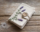 Linen and Cotton Credit Card Wallet with Hand Embroidered Lavender Flowers, French Country Card Holder, Organizer