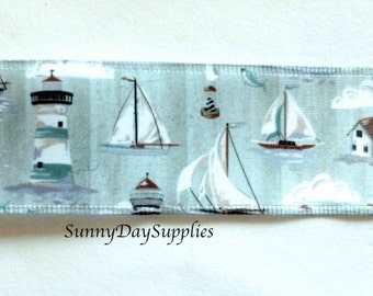 Nautical Satin Ribbon, Sea Foam Green Sailing ribbon, Sail Boats, Cape Cod, Lighthouse, Sea, Ocean, 2 YARDS, 1.5 inch wide, Sea Foam Green