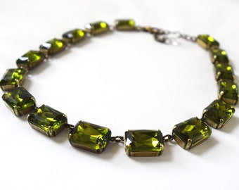 Olive Green Necklace, Olive Statement Necklace, Olive Jewelry, Collet Necklace, Riviere Necklace Anna Wintour Necklace Olive Wedding Jewelry