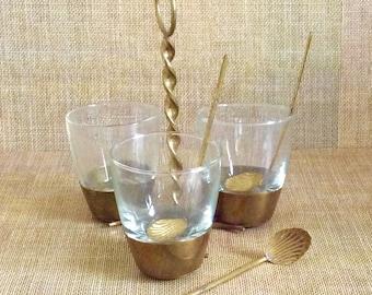 Brass and Glass Condiment Server--Brass Bowl Set--Serving Piece