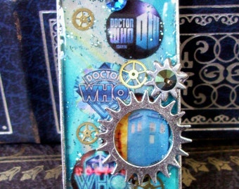 Doctor Who Necklace (N514) - TARDIS Pendant - Gears and Rhinestones - Collage Image under Resin - Silverplated Tray and Chain