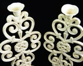 Large Candlesticks - Cast Iron Metal- Ivory Cream Rustic Distressed -Centerpieces - Wedding Decoration - One of  A Kind