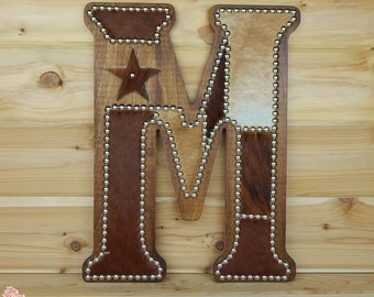 Cowhide Wall Letter M - Western Home Decor, Wall Hanging, Cowboy Nursery, Monogram